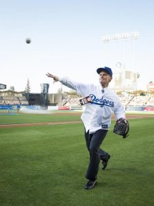 David A. Bednar throws out the first pitch for last week's Dodgers game