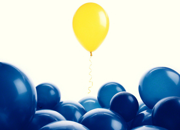 idea of minorities shown in colored baloons