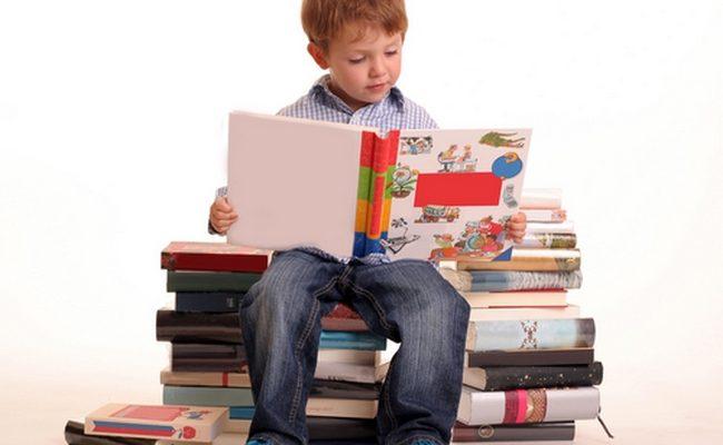 boy reading books