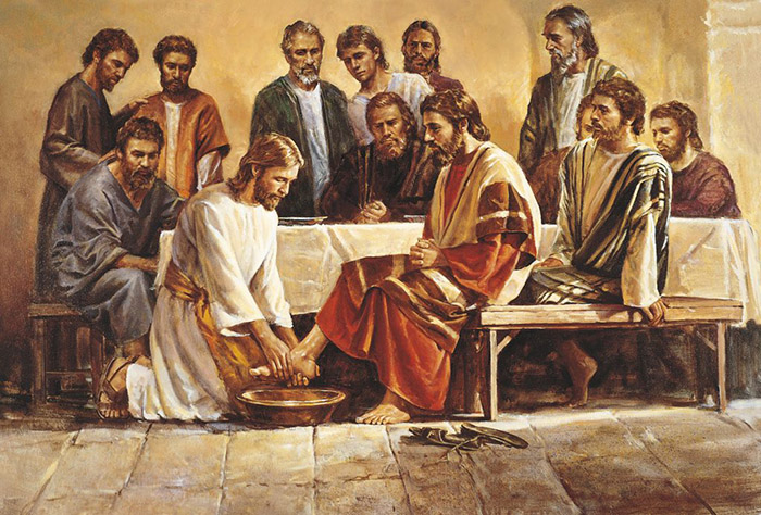 Jesus washes the apostles' feet at the last supper