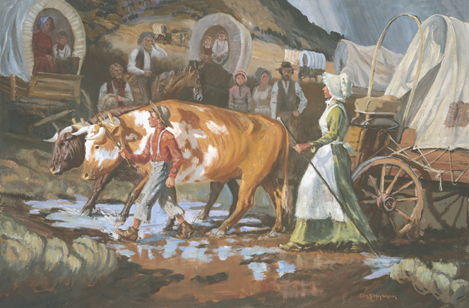 Mary Fielding Smith with her oxen, wagon and children