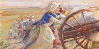 Mormon pioneer woman pushing handcart