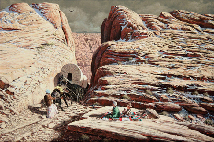 LDS pioneer pulling horses and wagon through hole-in-the-rock