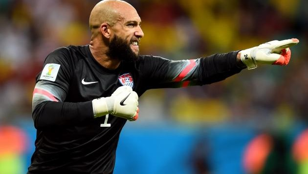 Tim Howard during the USA vs Belgium game