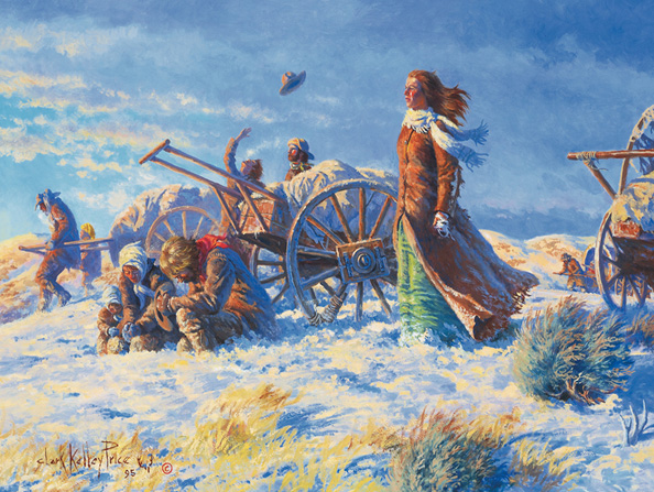 Mormon pioneers waiting for help