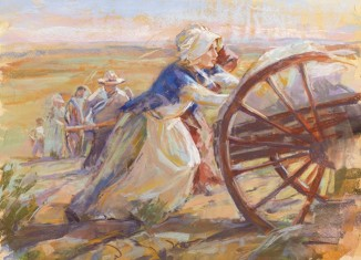 women pioneers pushing handcarts
