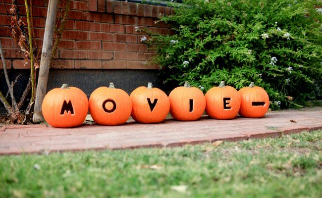 directions to halloween movie night carved in pumpkins - Scary Movie For Halloween