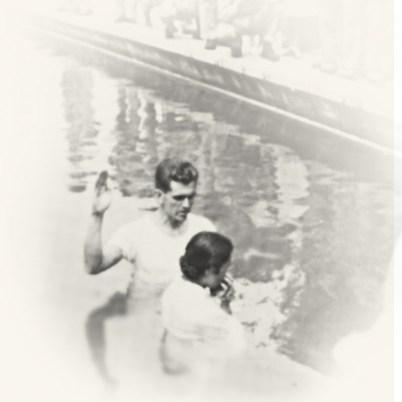 Boyd K Packer baptizing Chio Sato