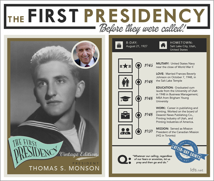 Infographic of Thomas S. Monson's life