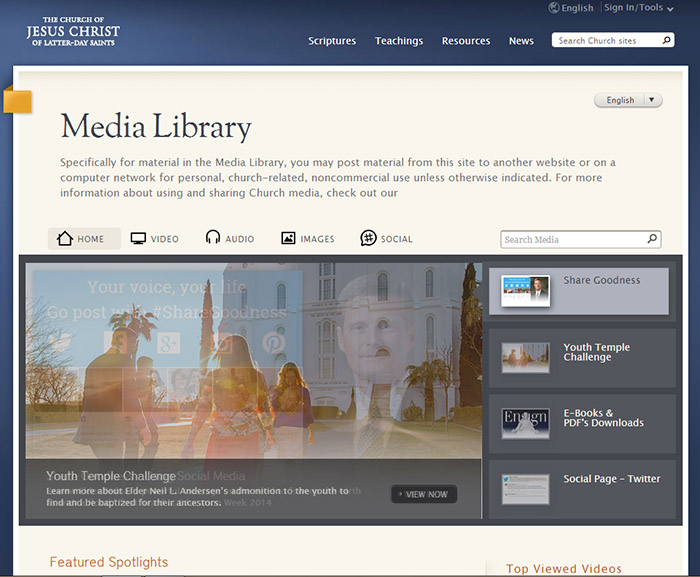 The home page of the LDS media library. The content of which is now available for members of the Church to use on social media.