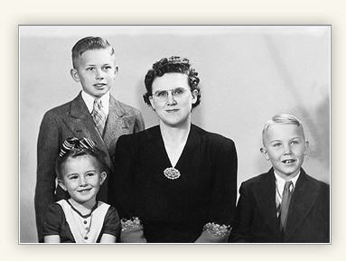 Portrait of Dallin H. Oaks with his mother and siblings