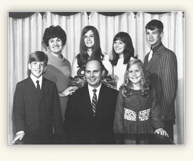 Portrait of Dallin H Oaks with his wife and children