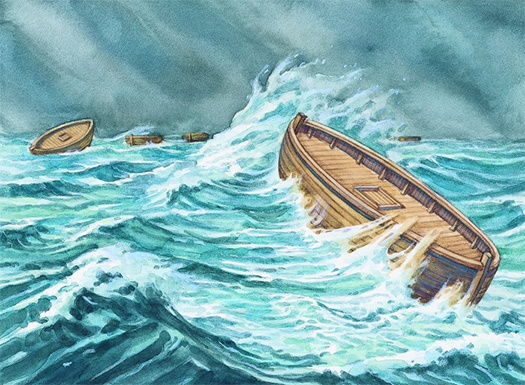 Illustrations of boats on the water.