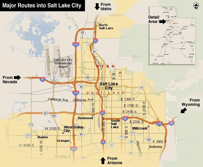 Best routes into Salt Lake