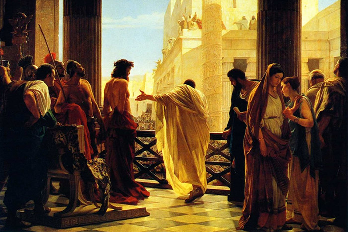 Pilate stands before Jesus Christ