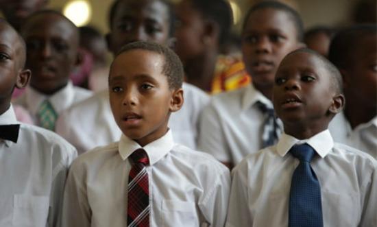 LDS children singing in Africa