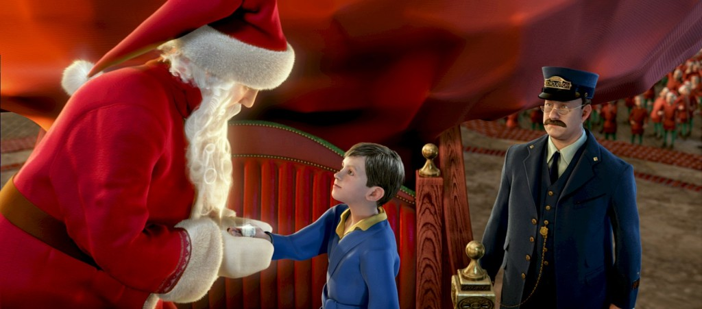 Polar Express Santa Claus giving the first gift of Christmas.