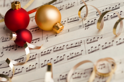 Christmas ornaments and sheet music.