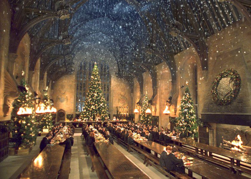 Hogwarts dining hall at Christmas.