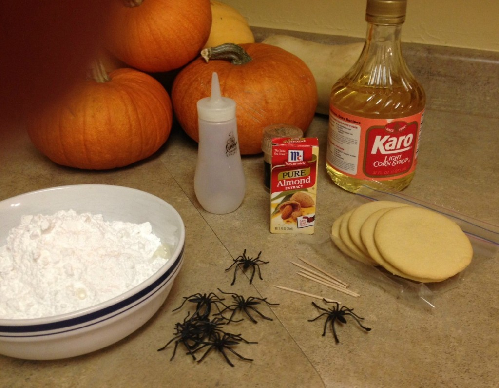 Ingredients for making Halloween spider cookies