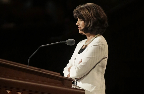 Jean A Stevens giving the benediction prayer at LDS Conference