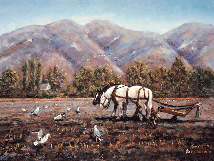 President Packer's Oil Painting of Plowing Horses. Image via LDS.org.