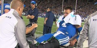 Taysom Hill broken leg BYU football