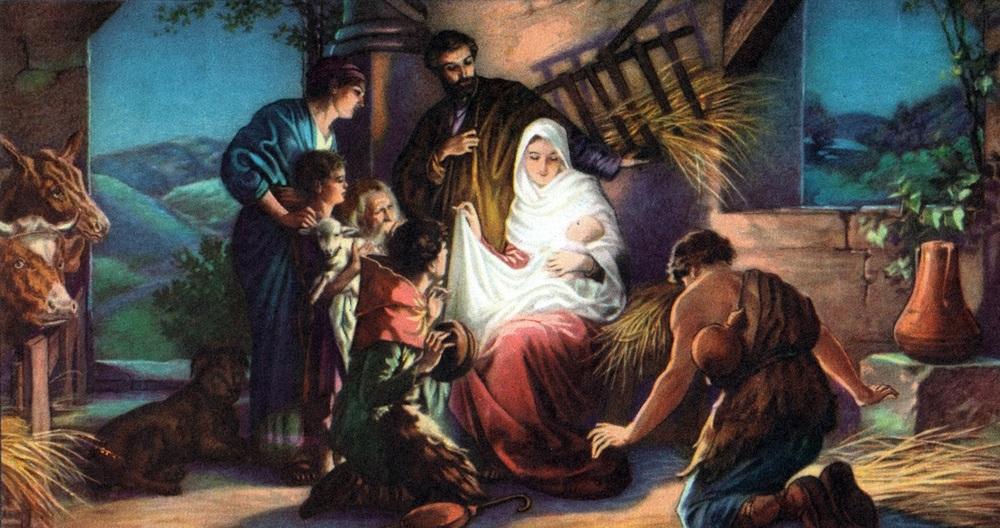Artistic depiction of shepherds worshiping baby Jesus