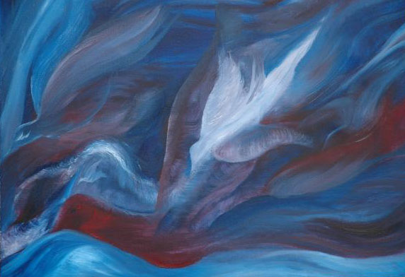 Abstract painting of doves representing the holy ghost