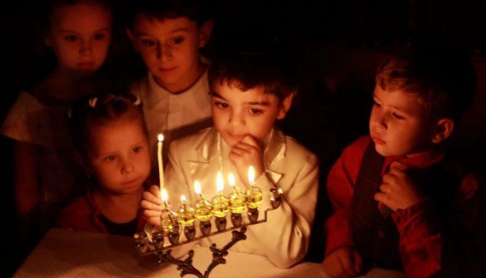 Children celebrating Hanukkah