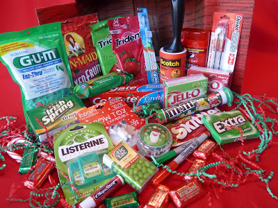 Red and green themed missionary Christmas care package