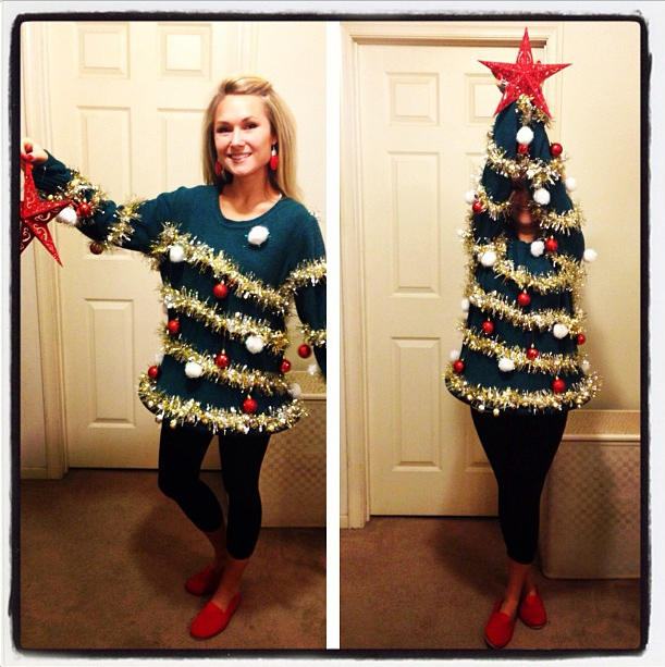Ugly, Christmas Sweater, Christmas Tree, decorations