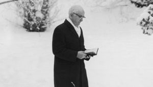 Spencer W. Kimbal walking in the snow