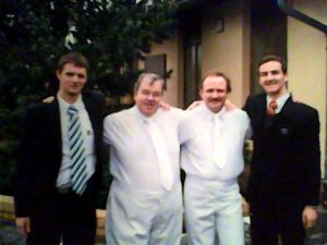LDS Missionaries with two German converts on their baptism day