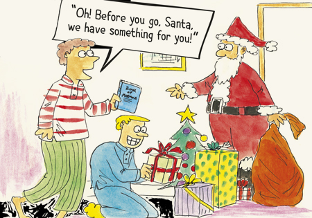 Cartoon of missionaries sharing the gospel with Santa Clause