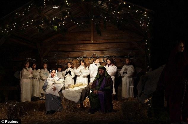 Ward Primary reenacting the Nativity scene.
