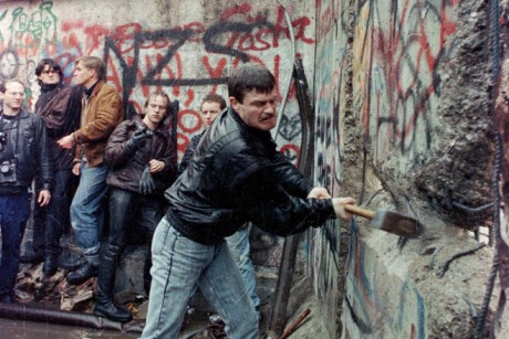 """Behind the Wall: Then & Now"""" – change to, """"East German citizens assist in breaking down the Berlin Wall with mallets"""