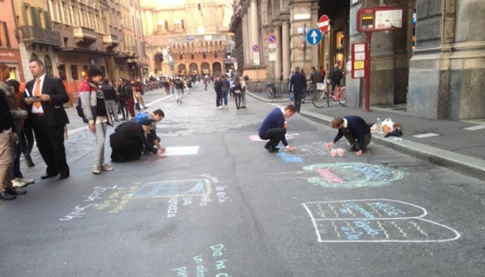 Missionaries Sidewalk chalk, Italy