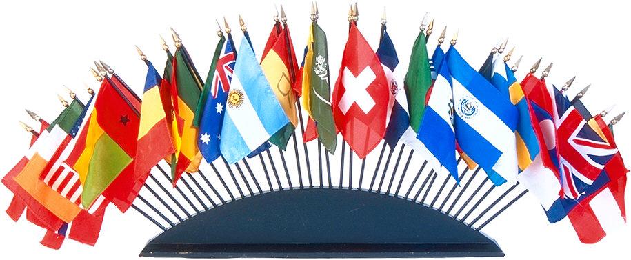 An array of international flags.