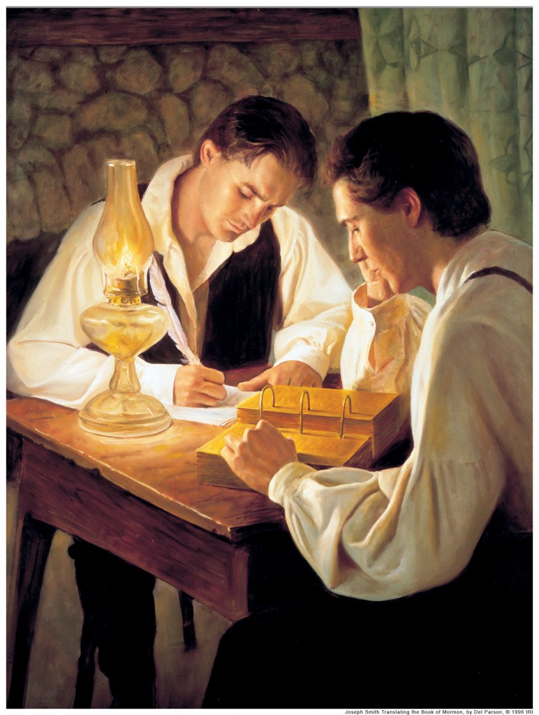 Joseph Smith translating the Book of Mormon