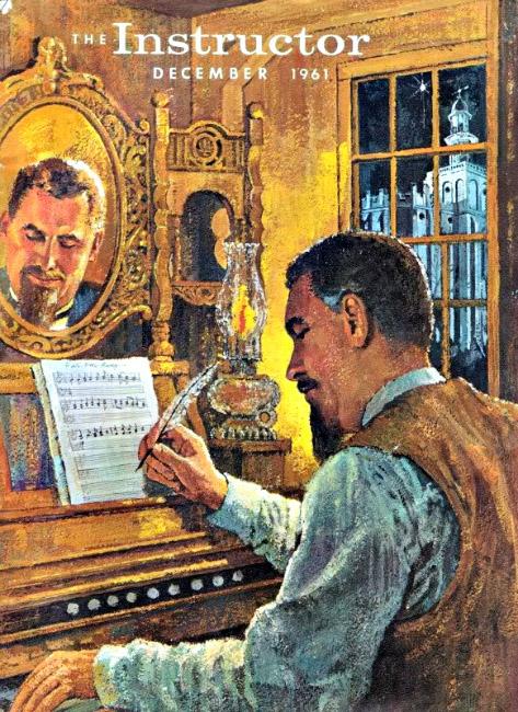 Depiction of John M Macfarlane composing Far, Far Away on Judea's Plains