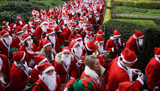 Hundreds of Santa Clauses