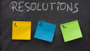 New Year's Resolutions sticky notes