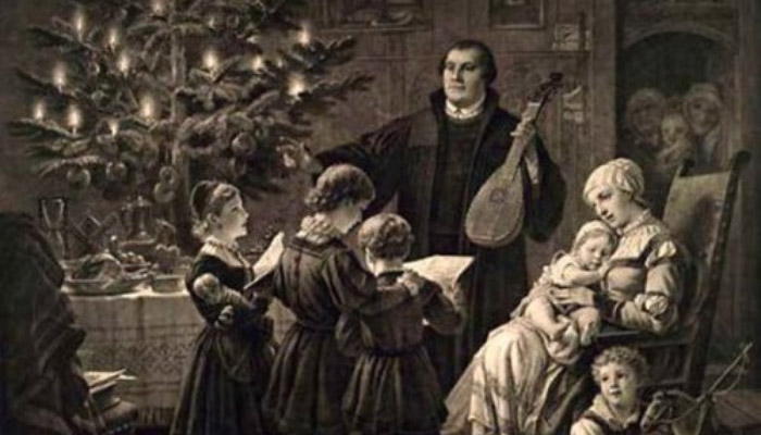 Painting of Martin Luther celebrating Christmas