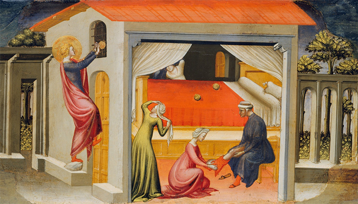 Painting of St Nicholas giving dowries to three sisters