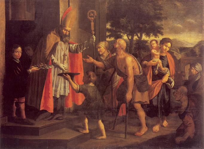 Saint Nicholas gives alms