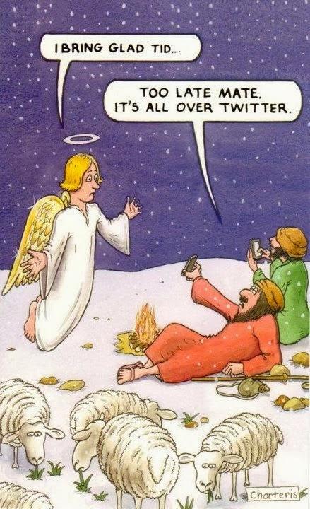 Shepherds tweeting about Christ's birth