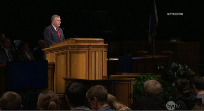 Elder Erich W Kopishke talks to BYU students about vision, goals, family life