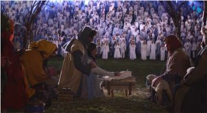 Live Christmas nativity with many angels present.