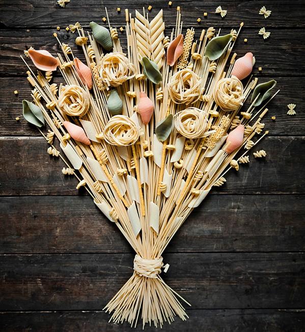 Pasta art designed like a bouquet